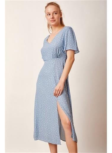 Never More Desenli Midi Elbise Mavi Mavi